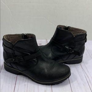 Teva black leather zip up booties